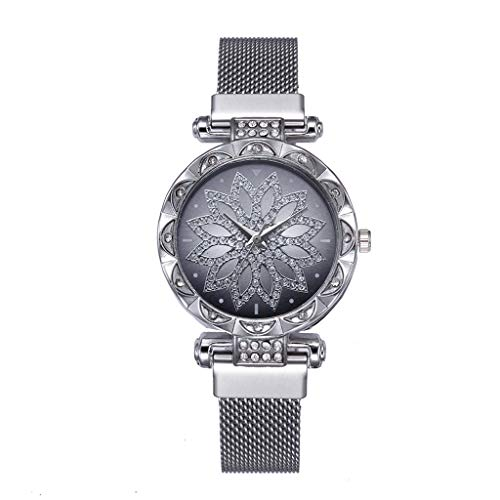 Tantisy ♣↭♣ Women's Crystal Encrusted Bracelet Watch Diamond Accented Rose Cut-Out Dial Swarovski Colored Crystal Watch]()
