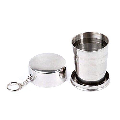 HUPPYNUTS CUPS & MUGS Stainless Steel Portable Outdoor Travel Camping Folding Collapsible Cup Metal Keychain, 9-1/3-Ounce