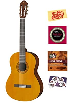 Yamaha C40 Nylon String Acoustic Guitar Bundle with Instructional DVD, Strings, Pick Card, and Polishing Cloth