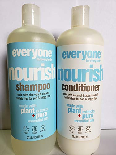 EO Everyone Sulfate Free Nourish Shampoo and Conditioner Bundle with Coconut Fruit Extract, Lemon Peel Oil, Matricaria Flower and Organic Aloe Barbadensis Leaf, 20.3 fl. oz. each