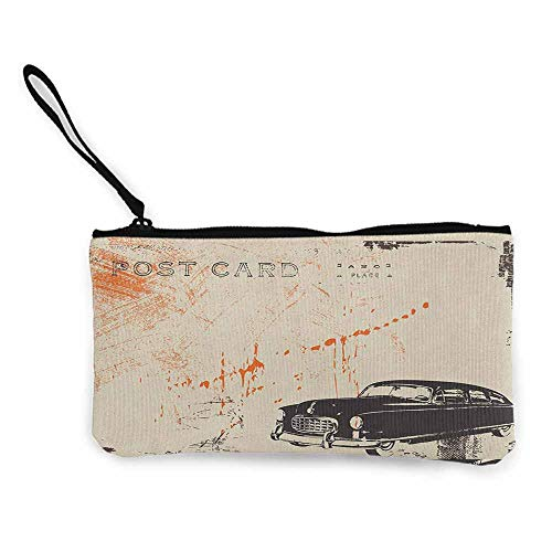 (Women's hand bag clutch bag Vintage Car Art with Classic Old Fashioned Car on the Street Vintage Postcard Style Design Wallet Coin Purses Clutch W 8.5