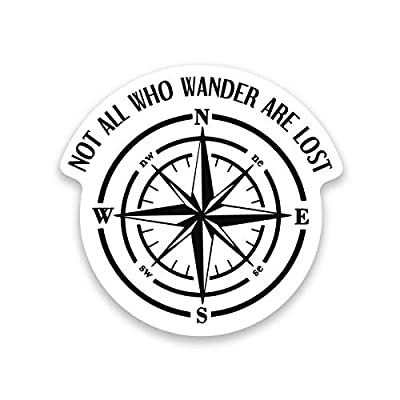 More Shiz Not All Who Wander are Lost Compass Vinyl Decal Sticker - Car Truck Van SUV Window Wall Cup Laptop - One 5 Inch Decal - MKS1206: Automotive