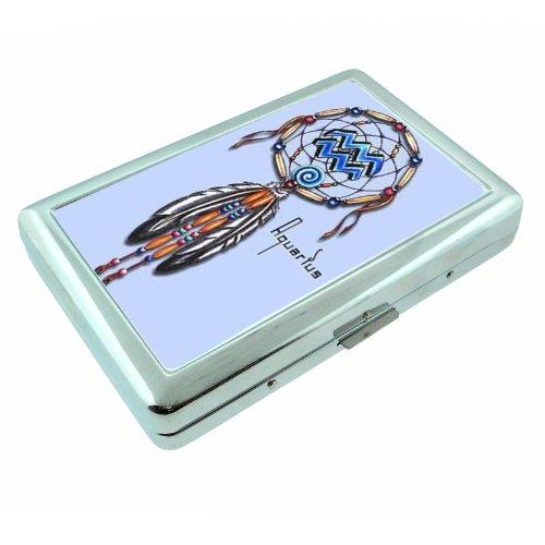 Aquarius Metal - Aquarius Zodiac Dreamcatcher Metal Silver Cigarette Case Holder Box D-261