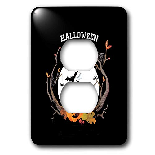 3dRose Beverly Turner Halloween Design - Spooky Trees, Pumpkin, Bats, Spider, Web, Moon, and Lantern, Halloween - Light Switch Covers - 2 plug outlet cover (lsp_302004_6) ()