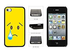 Bright Yellow Sad with Tear Face Plastic Phone Case Back Cover Apple iPhone 4 4s