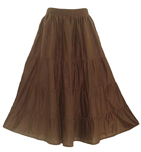 Beautybatik Brown Cotton Boho Gypsy Long Maxi Tier Flare Skirt 3X ()