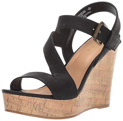 Platform Strappy Buckled Cork Wedge Sandal, Black Smooth/Cork, 9 M US ()