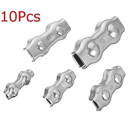 Tutoy 10Pcs Acero Inoxidable Dúplex Clip Cable Cables Pinzas ...