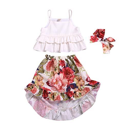 Toddler Little Girls Floral Boho Skirt Sets Summer Outfit Ruffle Tank Top+Irregular Maxi Dress Beach Clothes (White, 4-5 T)