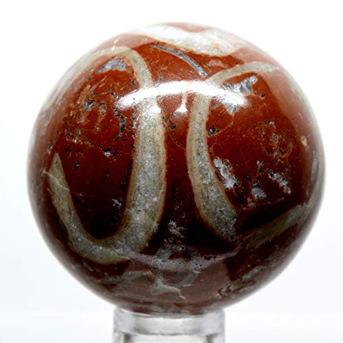 (41mm Red Jasper Agate Sphere Natural Brecciated Crystal Ball Sparkling Mineral Polished Stone - Morocco +)