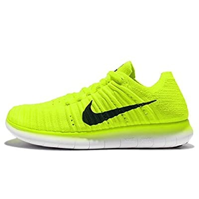 Nike Women's Free Running Motion Flyknit Shoes, Volt/White/Black - 10.5 B(M) US