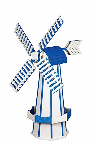 Poly Windmill Medium (40'') Amish Made White w/Bright Blue Trim