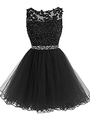 JAEDEN Lace Short Cocktail Dresses Open Back Homecoming Dress Tulle Prom Gown Appliqued