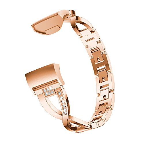 ( Orcbee  _X-Link Metal Bracelets Replacement Adjustable Straps Crystal for Fitbit Charge 3 (Rose Gold))
