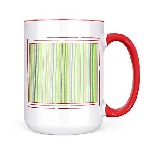 Neonblond Custom Coffee Mug Green Stripe Patterns 15oz Personalized Name