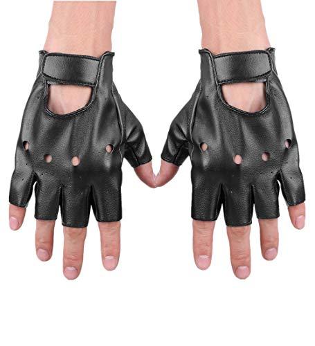 iiniim Women Men Wet Look Punk Cutout Half Finger PU Leather Performance Gloves Mittens Black One Size