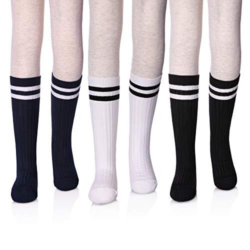 (LANLEO Girls School Uniform Mid-Calf Cotton Socks Classic Stripes Athletic Soccer Tube Socks 3 Pack L)