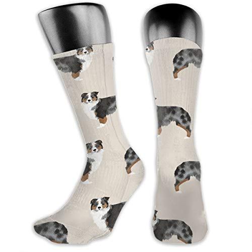 TLDRZD Unisex Crazy Fun Cool Australian Shepherd Print Colorful Athletic Sport Novelty Crew Tube Socks ()