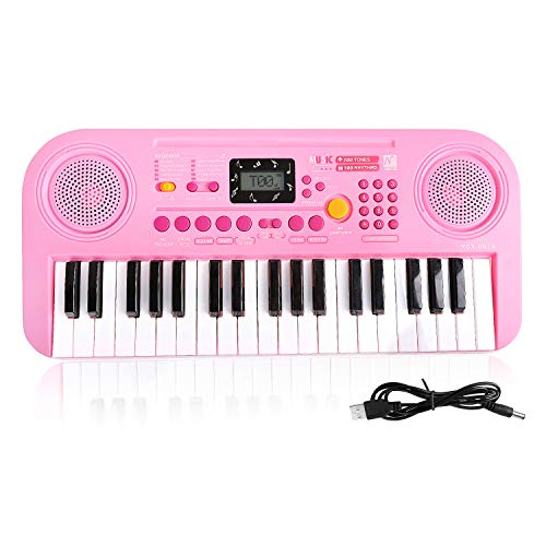 TWFRIC Kids Piano Keyboard, 37 Keys Dual-Speakers Portable Keyboard LCD Screen Display Piano for Kids 2018 Newest Piano Keyboards Music Educational Toy for 3-8 Years Old Boys Girls Child (Pink)