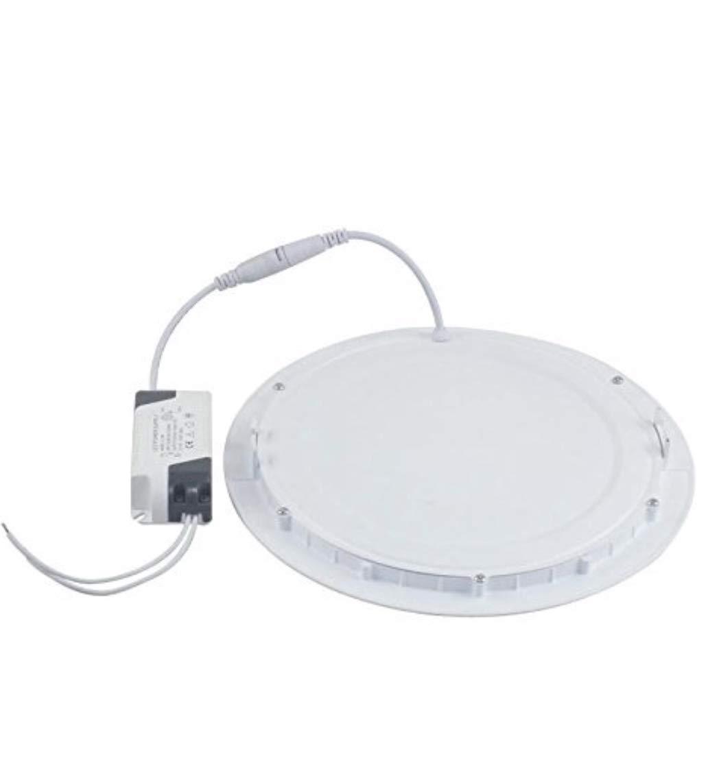 (LA) 2x Panel LED redondo plano, 20w, corte 220mm, tamaño exterior 240mm color blanco, driver incluido. (Blanco frio 6500K) [Clase de eficiencia energética A++] LED ATOMANT