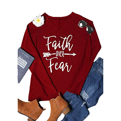 Lettera Dimensione Autunno Lunghe colore Fear Donna Magliette A Da Over T Red shirt Arrow M Faith Maniche E4Z7Hqn