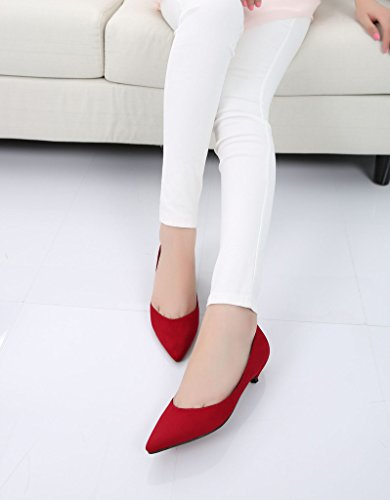 Donna Moda Classica Slip On Scarpe A Punta Scarpe Basse Tacco Basso Scarpe Da Donna 05 # Camoscio Rosso