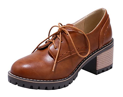 VogueZone009 Women's Round Closed Toe Lace-up PU Solid Kitten-Heels Pumps-Shoes Brown AYAV4w8Zo