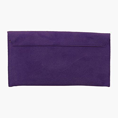 Accessoryo - donna-Lila pelle scamosciata-busta-sera-pochette da portare sottobraccio