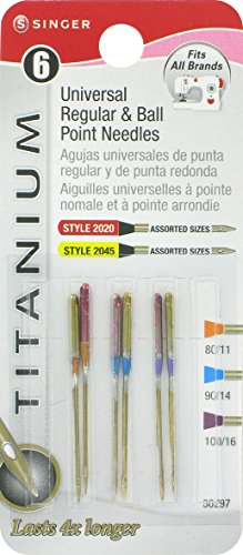 Singer 6 Regular and Ball Point Titanium Machine Needles