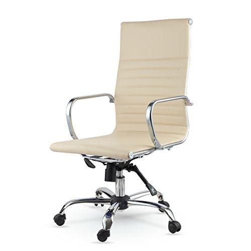 Winport Furniture WF-7911 Elegance High-Back Leather Swivel Office & Home Desk/Task Chair 37″ x 15″ x 23″ Cream