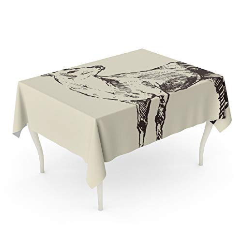 Tinmun Waterproof Tablecloth 52 x 70 Inches Buck Deer Engraving Vintage Sketch Reindeer Lithograph Dear Block Decorative Rectangular Tabletop Cover for Outdoor Indoor Use