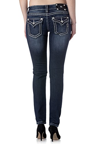 Miss Me Loose Saddle Stitch Border Skinny Jean 26 Dark Blue (Miss Me Dark Skinny Jeans)