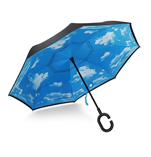 Plemo Double Layer Inverted Umbrella, Windproof Reverse Umbrella for Outdoor UV Protection or for Car Use With Folding C-Shaped Hands Free Handle-Sky Blue