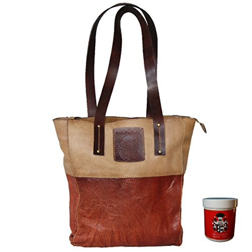 BARON de MALTZAHN - Sacs portés main MELBOURNE pour femme cuir marron compris les soins en cuir