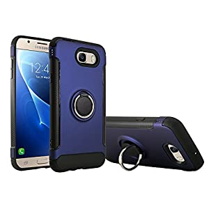 Galaxy J7 Prime 2017 Case, Galaxy J7 V Case Slim Drop Protection Cover, Ring Grip Holder Stand, Ready for Magnetic Car Air Vent Mount For Samsung Galaxy J7 V, J7 Perx, J7 Sky Pro, J7 2017 (Blue)