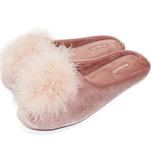 BCTEX COLL Lady's Cozy Velvet Slippers with Fluffy Pom Pom Feather, House...