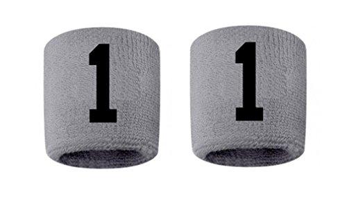 #1 Embroidered/Stitched Sweatband Wristband GRAY Sweat Band w/ BLACK Number (2 Pack)