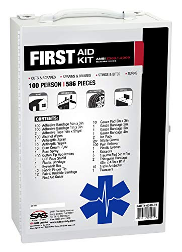 SAS Safety 6099-01 100-Person First-Aid Kit, Metal Cabinet ()
