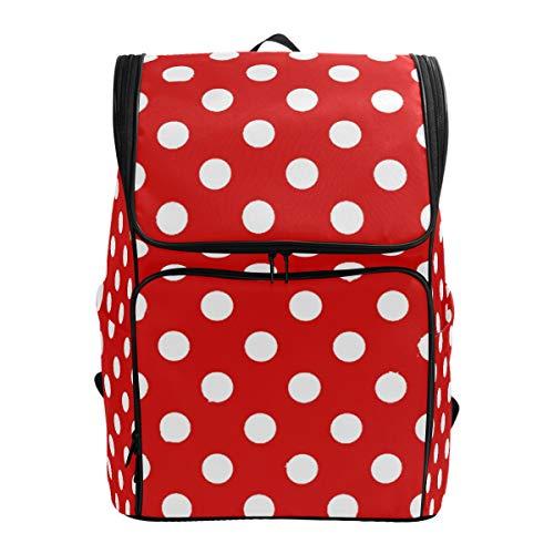 SLHFPX Travel Backpack Rectangular Red White Polka Dot College Backpack for Men Big Hunting -