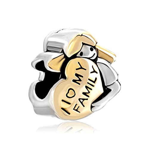 SexyMandala Heart I Love My Family Baby Girl Hugging Gold Plated Charms Beads For Bracelet ()
