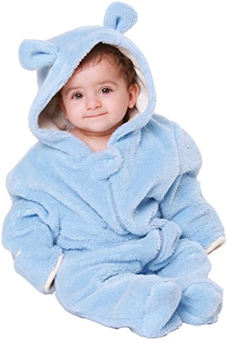 Sweet Mommy Baby Fleece Jumpsuit with Teddy Bear Hood Blue 80 ()