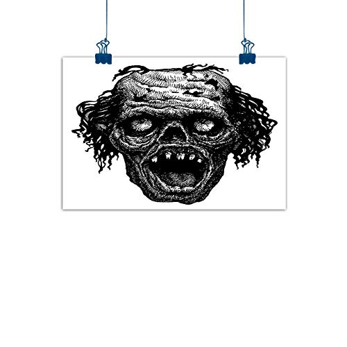 Sunset glow Wall Painting Prints Halloween,Zombie Head Evil Dead Man Portrait Fiction Creature Scary Monster Graphic,Black Dark Grey for Bathroom Bedroom Pictures 36
