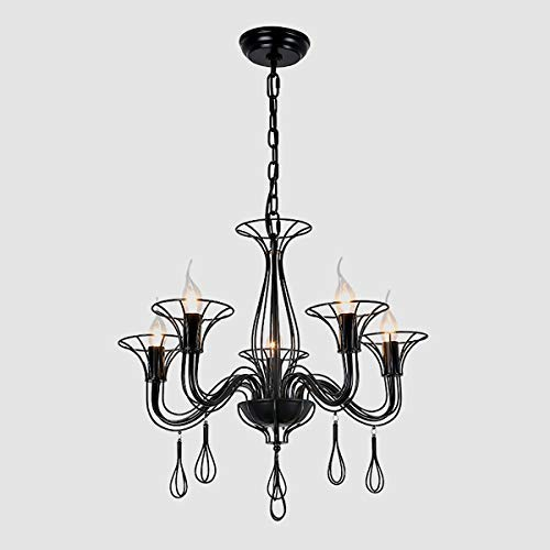 (AIDOS Industrial Vintage Black Metal Candle Chandeliers with 5 E14 Bulb, Style Retro Nostalgia Restaurant Mediterranean Modern Living Room Lighting Western Style Wrought Iron Candle)