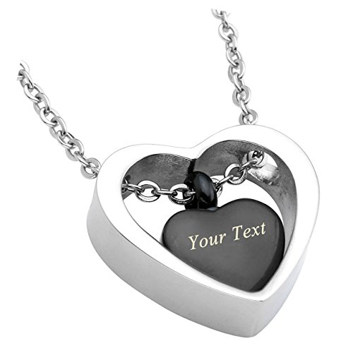 Personalized Master Free Engraving Custom Stainless Steel Double Heart Cremation Urn Necklace Pendant for Ashes Keepsake Memorial with Funnel Fill Kit and Gift - Seal Hearts Personalized Double