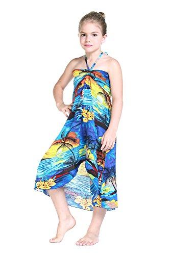 Girl Hawaiian Halter Dress in Blue Sunset Size 6
