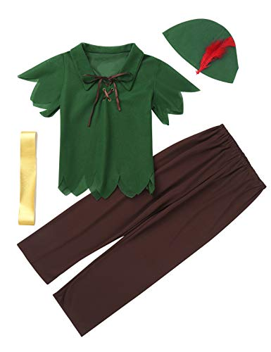 TiaoBug Kids Boys Robin-Hood Costumes Short Sleeves Peter-Pan T-Shirt with Hat Halloween Cosplay Party Fancy Dress up Green&Brown -