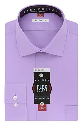 Van+Heusen+Men%27s+Flex+Collar+Regular+Fit+Solid+Spread+Collar+Dress+Shirt%2C+Dahlia+Purple%2C+18.5%22+Neck+34%22-35%22+Sleeve