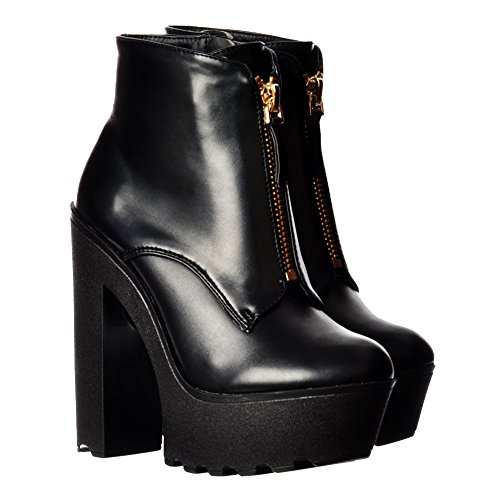 Cleated Platform Womens Sole Ladies Onlineshoe High Black Pu Boots Chunky Heel Ankle dtXCwndxqA