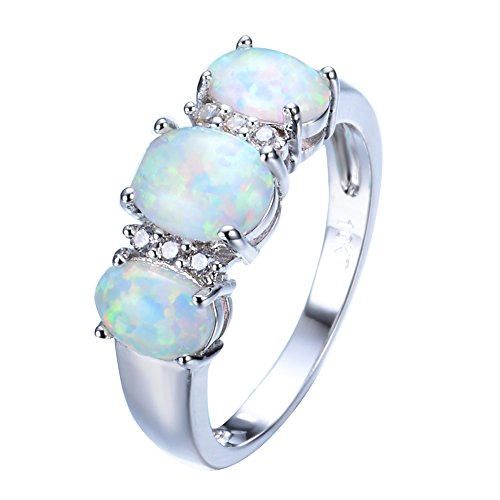 JunXin 10KT White Gold Three Stone Oval Ring Lab Created Green Fire Opal White CZ Size6/7/8/9(9) - Opal Kids Ring