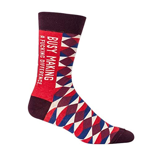 (Blue Q Socks, Men's Crew, Busy Making A F--king Difference)